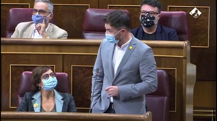 Gabriel Rufián criticó con dureza al Rey en la sesión de control al Gobierno