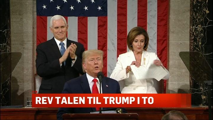 Trump, Pence og Pelosi. Pelosi river opp talen Trump nettopp har holdt.