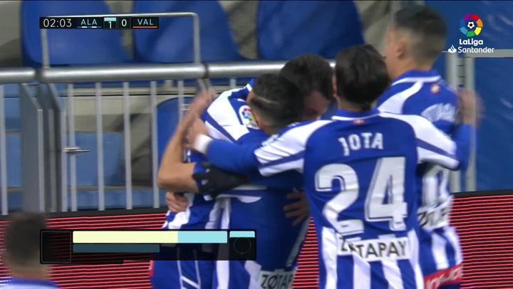 Gol de Ximo Navarro (1-0) en el Alavés 2-2 Valencia