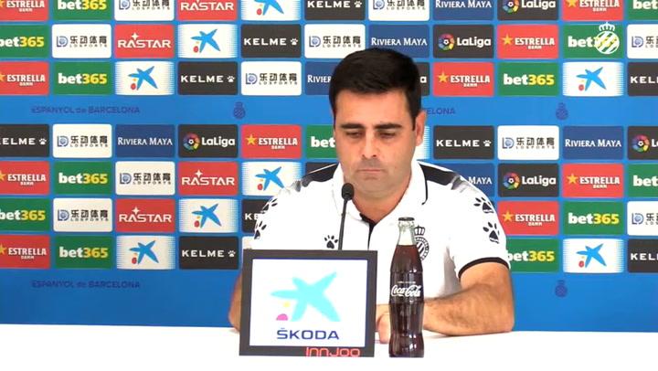 La rueda de prensa de David Gallego (Espanyol), previa del partido contra el Eibar