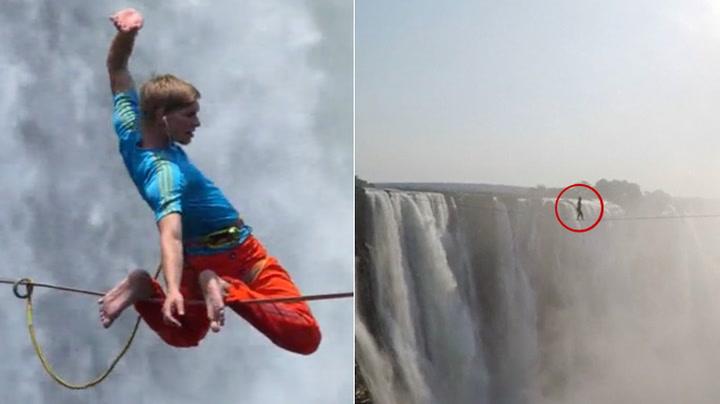Kompiser med dristige balansetriks på line over Victoria Falls