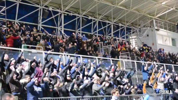 La afición del Fuenlabrada envía mensajes de ánimo a los jugadores confinados en A Coruña