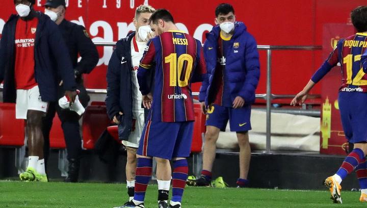 Messi charló conlos argentinos del Sevilla al finalizar el partido de Copa del Rey.mp4
