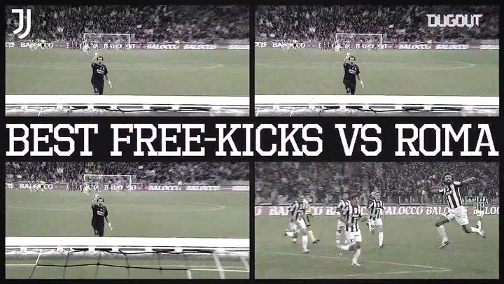 Golaços de falta da Juventus sobre a Roma