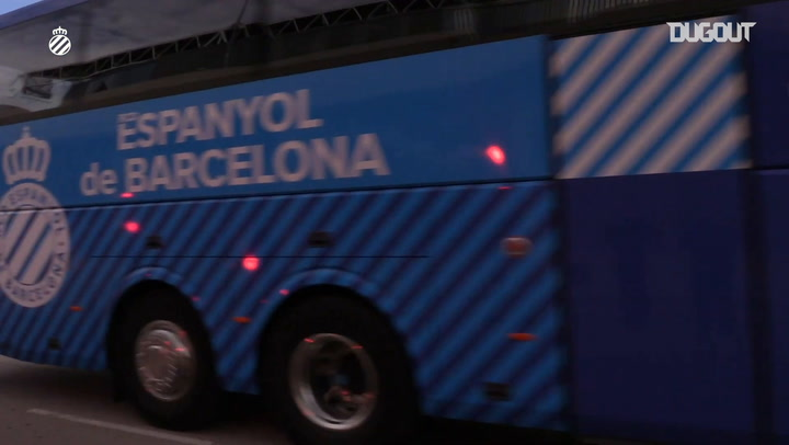 Espanyol fans welcome their team to the stadium