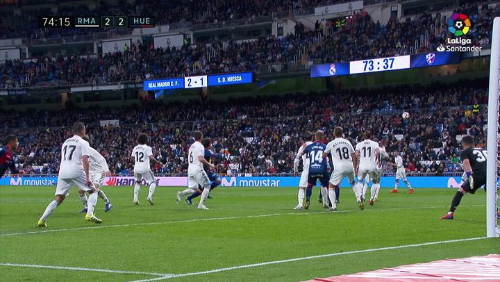 LaLiga: Real Madrid - Huesca. Gol de Xabi Etxeita en el minuto 74 (2-2)