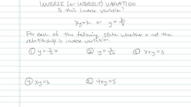 Inverse Variation - Problem 4