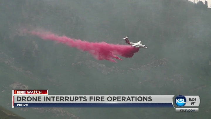 Drone Interrupts Fire Operations Battling Fire In Provo