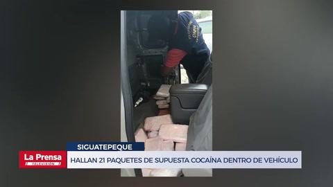 Hallan 21 paquetes de supuesta cocaína dentro de vehículo en Siguatepeque