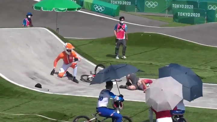BMX rider wipes official out during high speed crash mid-race in latest Olympics blunder