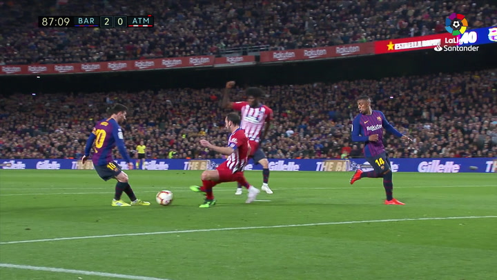LaLiga: Barça - Atlético Madrid. Gol de Leo Messi en el minuto 87 (2-0)