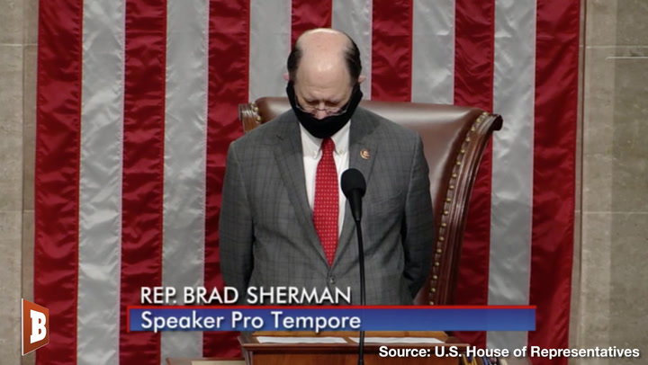 Democrat Congressman Gavels In House of Representatives Wearing a Mask