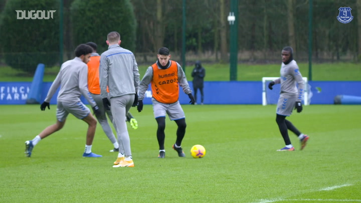 James Rodríguez and Richarlison in Everton training
