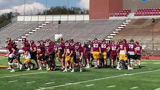 The UMD football team breaks huddle to begin their practice at Malosky Stadium on Tuesday, Sept. 21, 2021. Dan Williamson / Duluth News Tribune