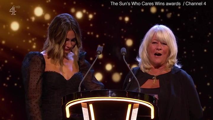 Caroline Flack's mum makes emotional speech about grief at mental health awards