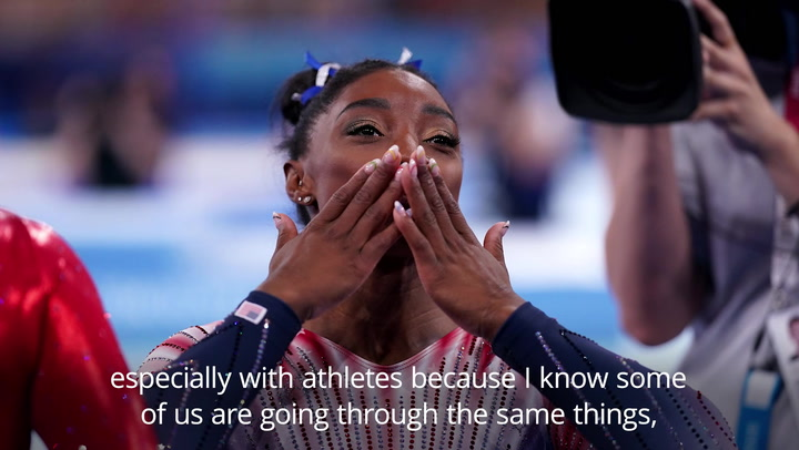 Simone Biles discusses mental health challenges after winning Olympic bronze medal