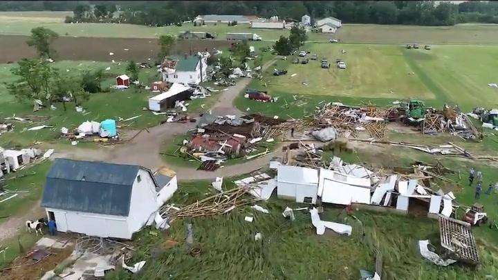 Tornado leaves trail of damage through eastern Indiana