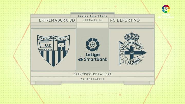 LaLiga SmartBank (J16): Resumen y goles del Extremadura 2-0 Deportivo