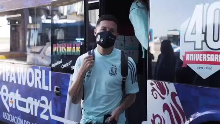 Llegada de la selección argentina a Perú