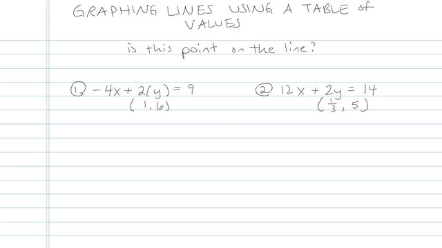 Graphing Lines using a Table of Values - Problem 6