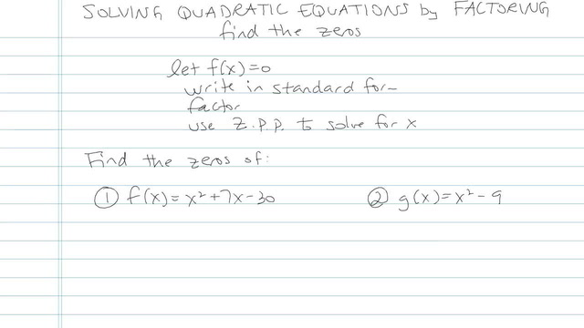 Solving Quadratic Equations by Factoring - Problem 20