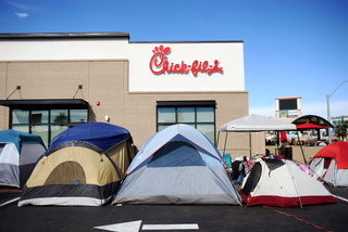 Crowds camp out for Chick-fil-A opening