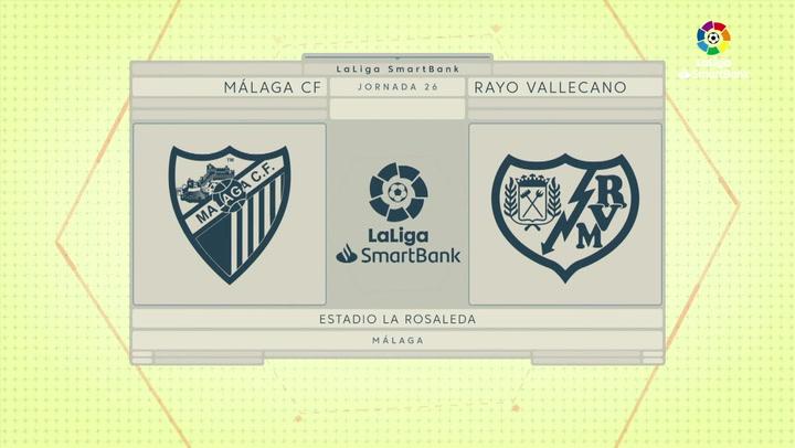 LaLiga SmartBank (J26): Resumen y goles del Málaga 2-0 Rayo Vallecano