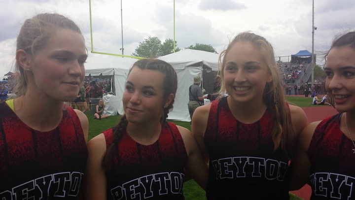 Peyton relay team talks about victory in state track meet.
