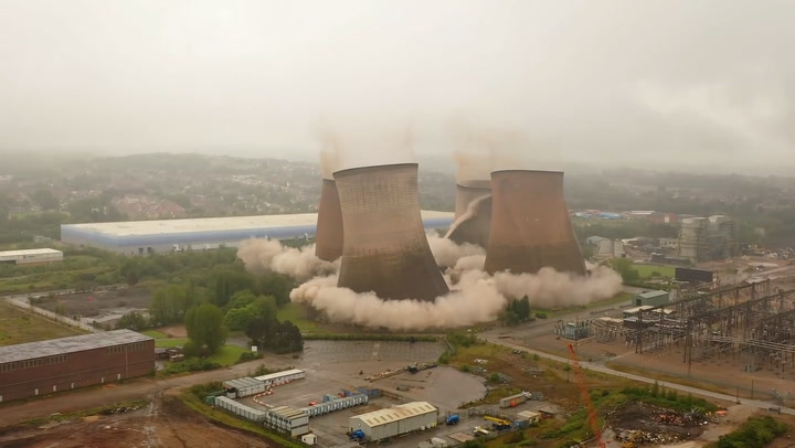 Staffordshire cooling towers demolished in controlled explosion