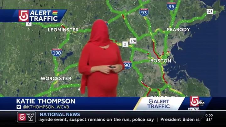 Reporter imitates Kim Kardashian's Met Gala look live on air