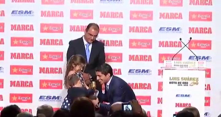 Suárez en la entrega de su segunda Bota de Oro