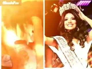 Graban a Miss Perú en estado de ebriedad y vomitando