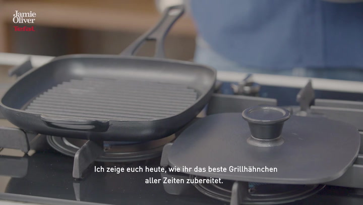 Preview image of Jamie Oliver by Tefal Cast Iron Grill Pan & Press video
