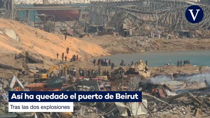 Así ha quedado el puerto de Beirut tras las dos explosiones