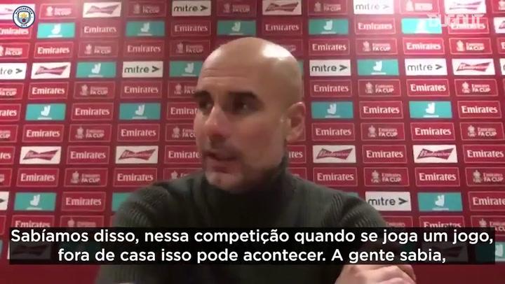 Guardiola comemora classificação e elogia lance de Fernandinho e Gabriel Jesus