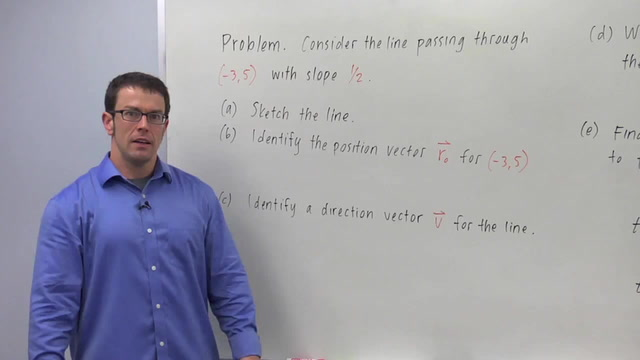 The Vector Equation of a Line - Problem 1