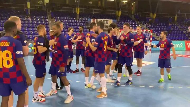 El Barça de balonmano celebra su victoria ante el Celje