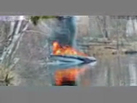 Paul Christianson took this video of a boat which caught fire at the Clamshell Lake boat landing next door to where he lives.