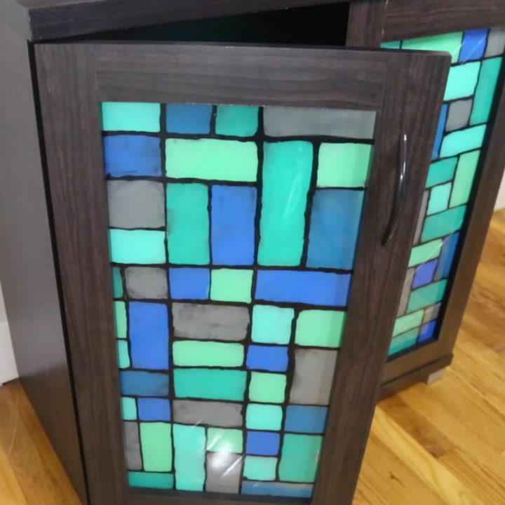 Faux Stained Glass Cabinet Technique