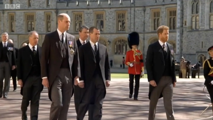 Princes Harry and William follow Prince Philip\'s funeral procession