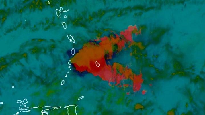 Satellite shows volcano erupting over three days