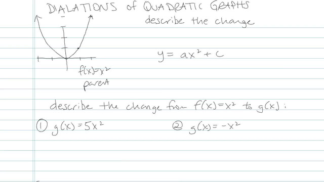 Dilations of Quadratic Graphs - Problem 4