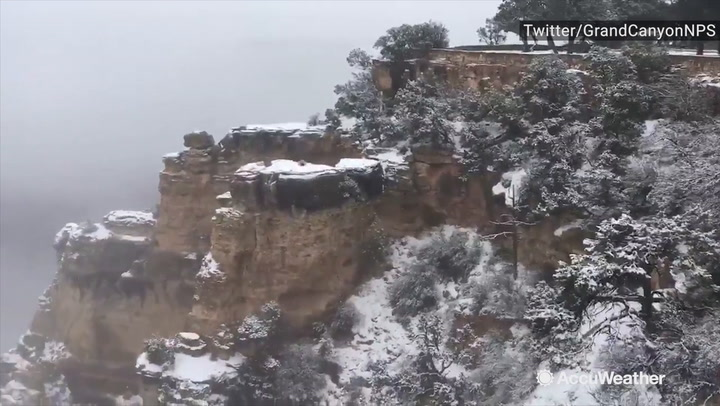 Snow Blankets South Rim Of Grand Canyon