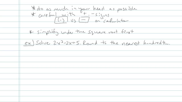 The Quadratic Formula - Problem 5