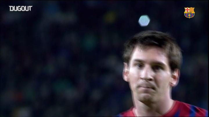 El último Hat-trick de Messi antes de la media parte ante el Mallorca