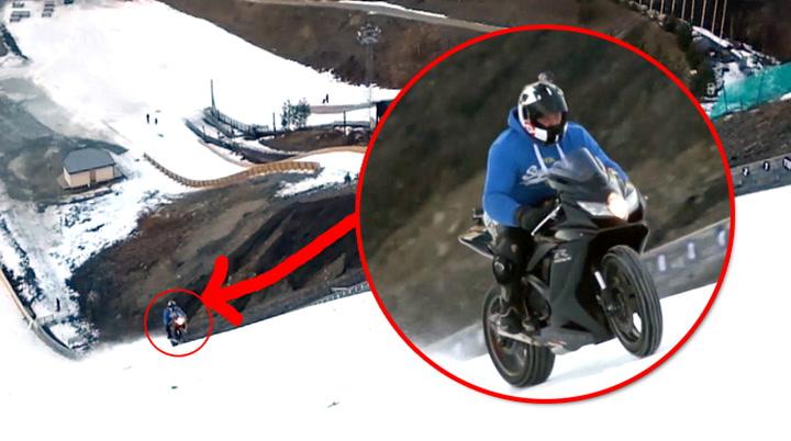 Kjørte opp OG ned Vikersundbakken på motorsykkel!