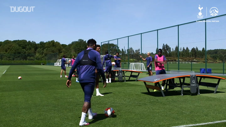 Spurs players wind down with Teqball game after training