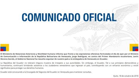Ecuador expulsa a embajadora de Venezuela