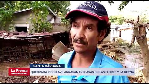 Quebrada y deslave arrasan 130 casas en Las Flores y La Reyna