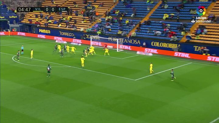 Gol de David López (0-1) en el Villarreal 1-2 Espanyol